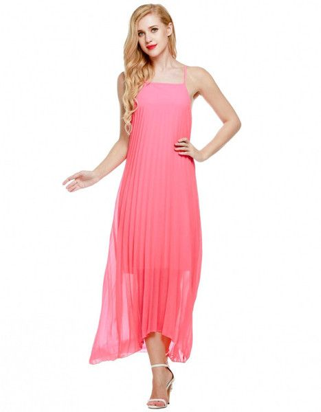 Chiffon Pleated Long Dress #Women #Sleeveless #Chiffon #Pleated #Casual #Beach…
