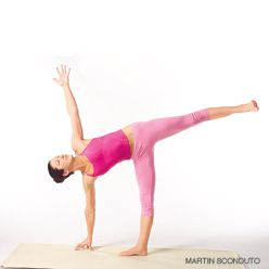 yoga the half moon belly flattener step your right