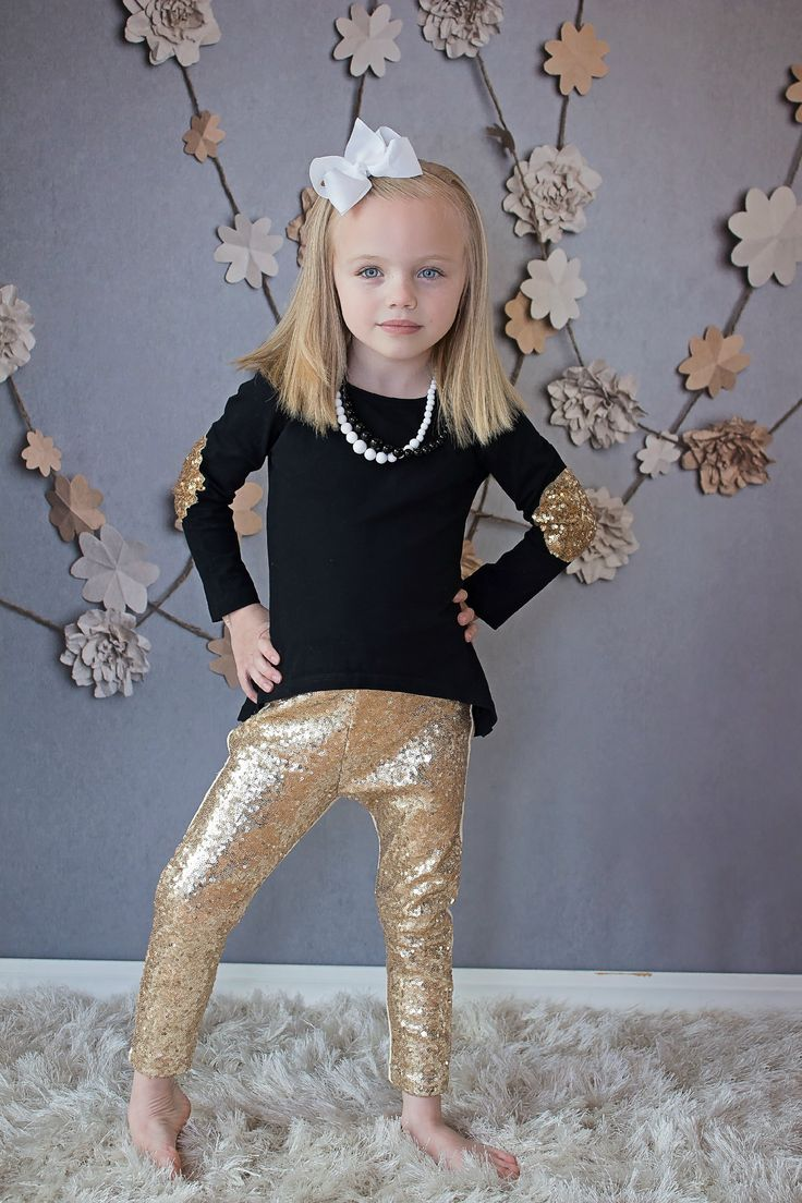 Gold Sequin Leggings for baby toddler young girls and ...