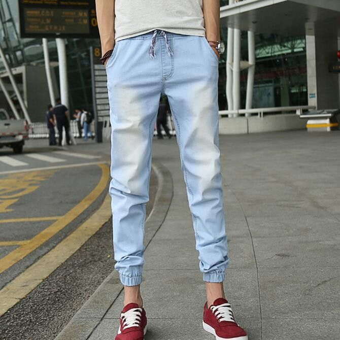 29.67$  Know more - http://ai1hc.worlditems.win/all/product.php?id=32340339441 - Denim Joggers Mens Light Blue Jean Jogger Pants 2017 New Fashion Waist Drawstring Ankle Length Garment Washed Free Shipping