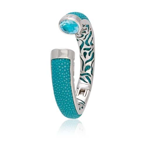 Bangle stingray silver stones luxury jewels stingray leather