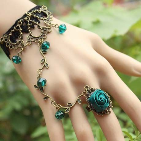 Black Lace Bracelet with Blue Flowers Ring