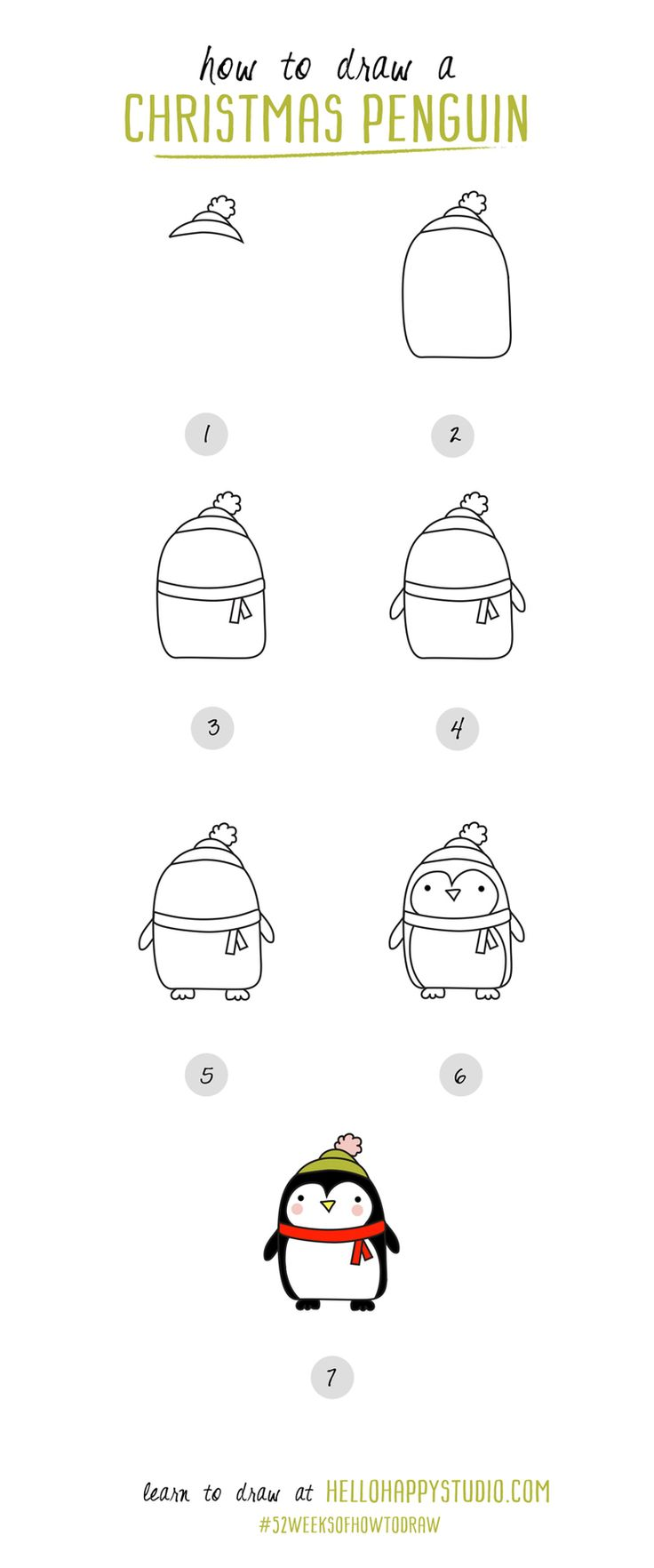 how to draw a christmas penguin 52weeksofhowtodraw hellohappystudiocom