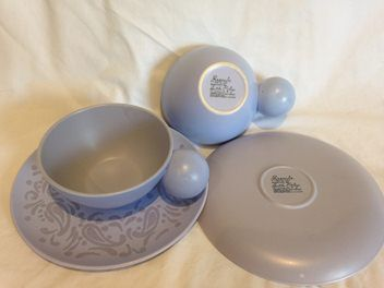 """2 cup and saucer sets of Crown Lynn pottery """"Brocade"""" design in purple. $456.50"""