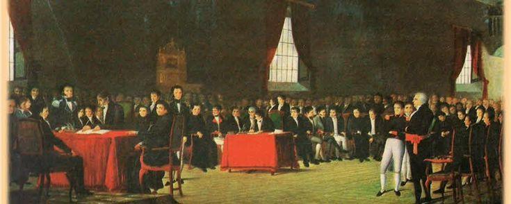 """""""El 5 de Julio de 1811"""", Juan Lovera (1838) -  Firma de declaración de Independencia de Venezuela"""