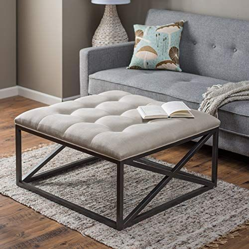New Tufted Grayson Coffee Table Ottoman, Thick Cushion in Linen Cotton over Powder Coated Frame. Furniture [$284.21] from top store aristatopshop