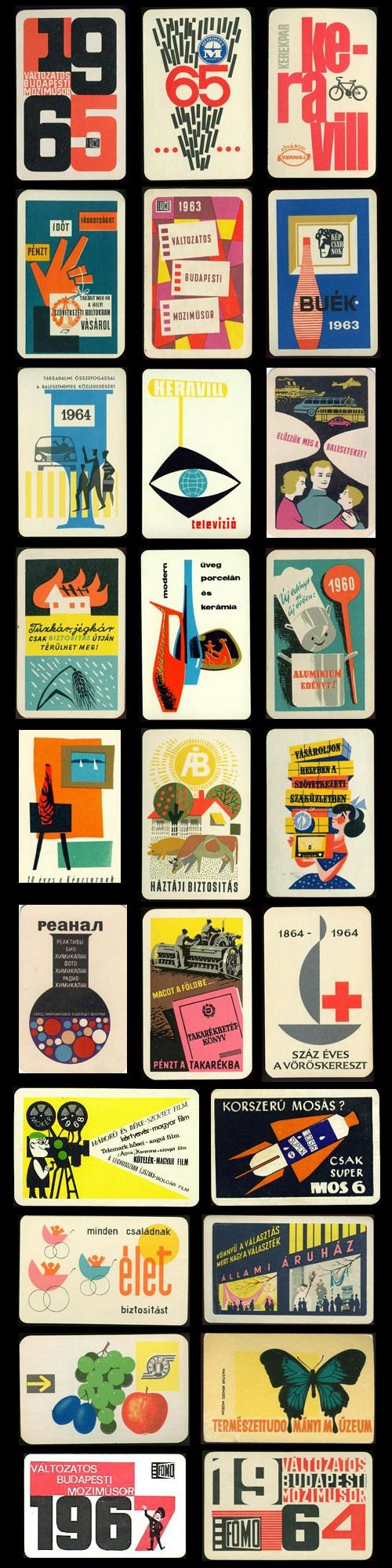 hungarian mid-century pocket calendars ✭ vintage graphic inspiration ✭ collection