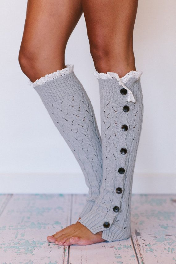Knitted Light Grey Leg Warmers Button Knit Lace Women's LegWarmers Cream Lace Trimmed LegWarmers Women's Fashion Boot Socks (TBN-LW01-10)