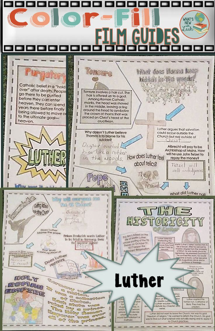 """Color Film Guide for Luther   Are you teaching about the Protestant Reformation and Martin Luther? This color film guide, which is essentially doodle notes for a movie, will help you keep your students focused and on-task while watching the film! These notes cover everything from Martin Luther's 95 Theses to the Peace of Augsburg. You get the notes, an example, a """"histrocity"""" page to compare fact versus fiction, and answer keys!"""