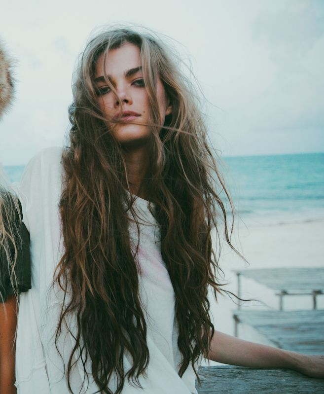 Messy beach hair