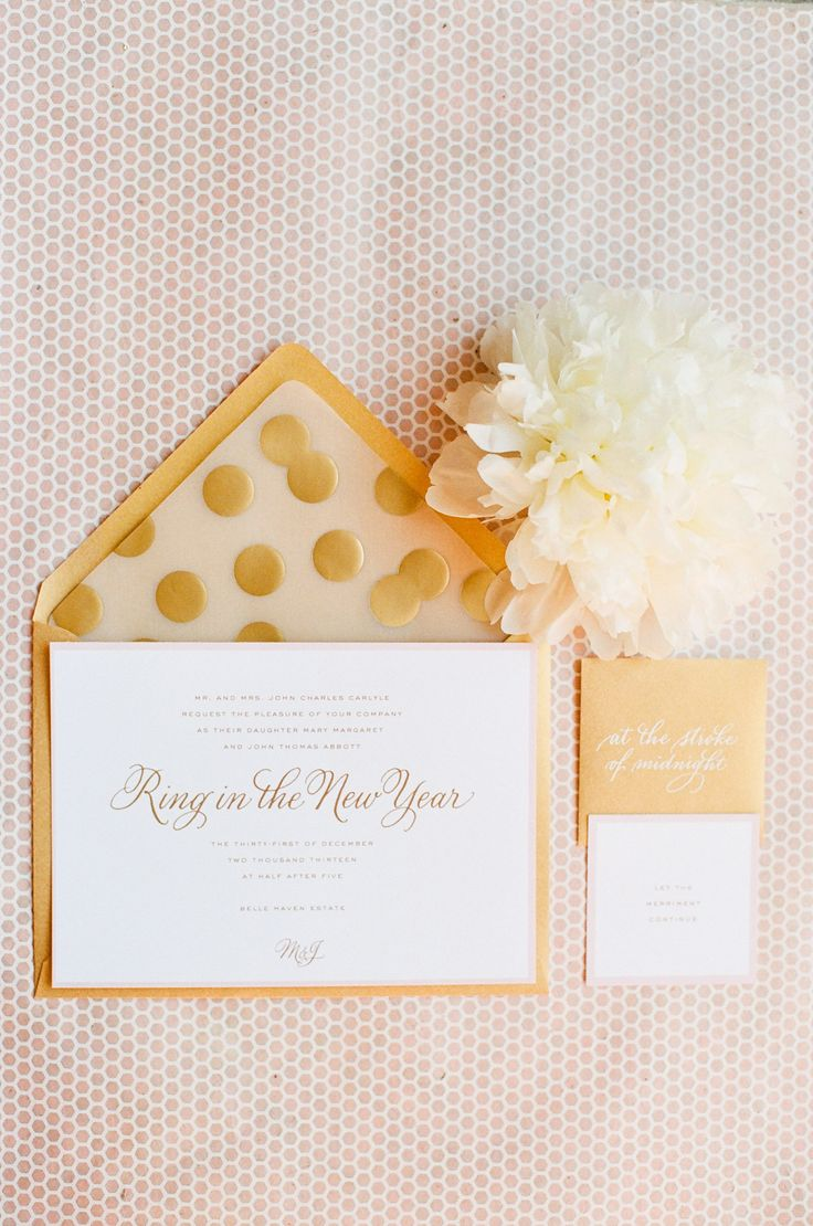 Pink and gold invites by  Deborah Nadel Design + Winifred Paper.  Photography: Ruth Eileen - rutheileenphotography.com  Read More: http://www.stylemepretty.com/2014/01/01/pink-and-gold-wedding-inspiration/