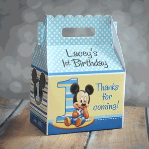 Baby Mickey Mouse First Birthday Party Gable Favor Box