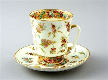 Ekaterina's Imperial Porcelain &Tea. Golden Twigs Cup& Saucer