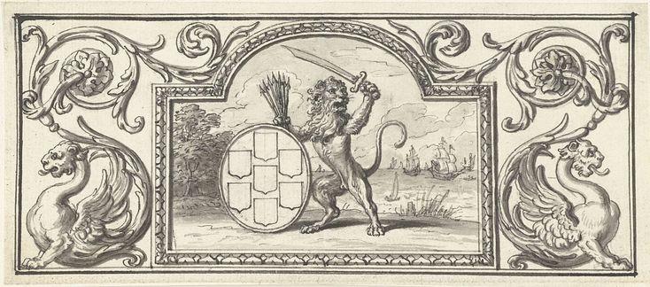 Bernard Picart   Vignet met de Nederlandse leeuw met het wapen van de Zeven Verenigde Provinciën, Bernard Picart, 1683 - 1733   Ontwerp voor een prent.