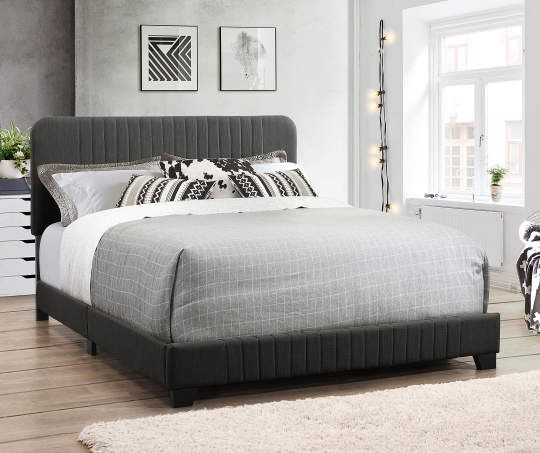 Steel Gray Mid Century Upholstered King Bed King Upholstered Bed