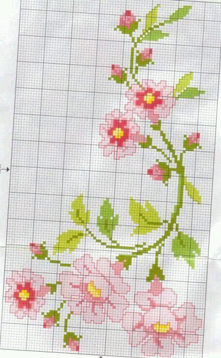 Kanaviçe çiçek runner
