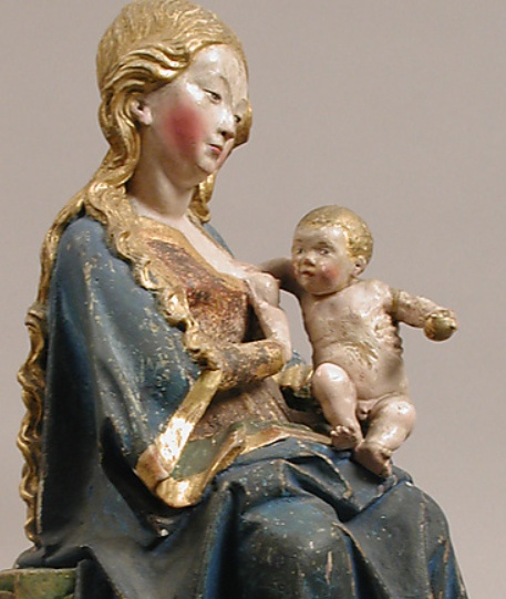 Enthroned Virgin with Nursing Child  Late 15th century from the Rhine Valley  Germany  http://www.metmuseum.org/Collections/search-the-collections/170007906