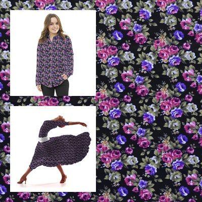 Tela popelín de algodón con estampado liberty con floreado fucsia y lila con hojas kaki, sobre un fondo negro. Popelín flamenca cachemir, sostenido y de tacto muy suave, ideal para la confección de trajes de flamenca, vestidos, camisas y faldas.  http://www.aleko.kingeshop.com/Popelin-Liberty-dbaaaakoa.asp