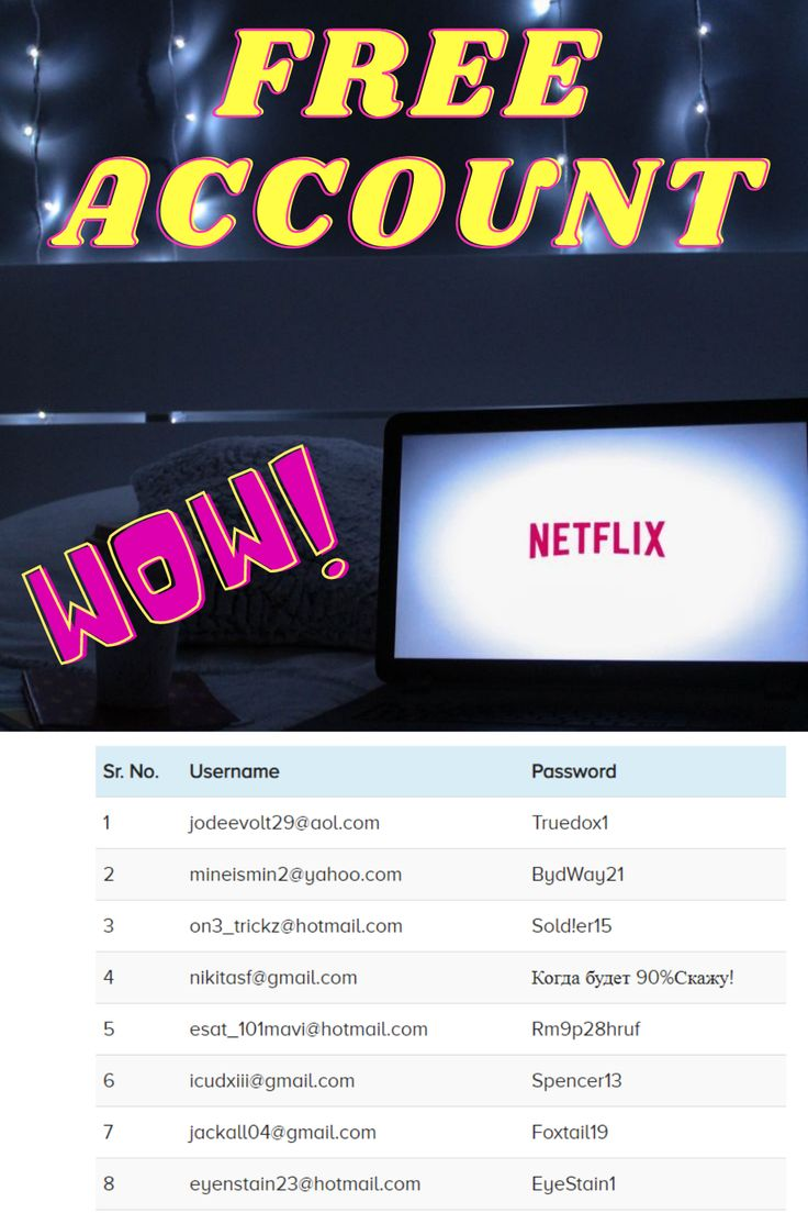 Free netflix account l email password 2020 in 2020