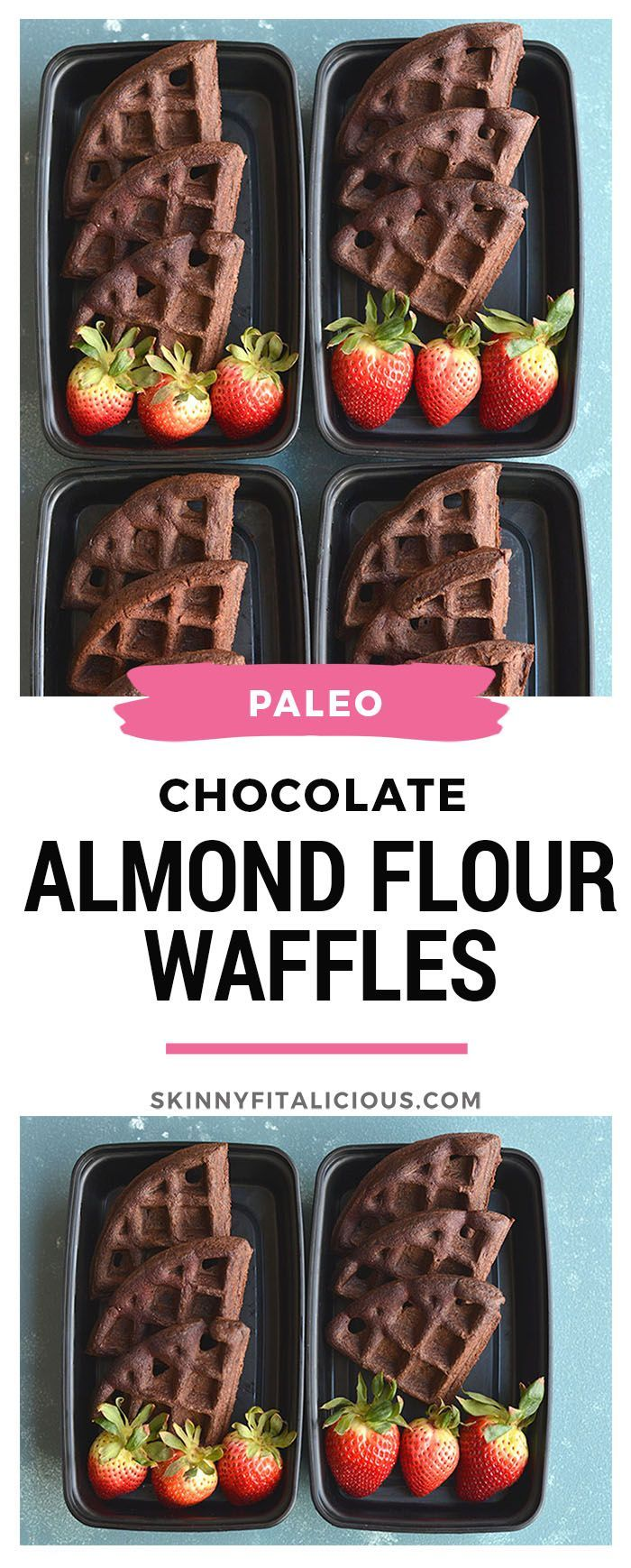 Meal Prep Chocolate Almond Flour Waffles! These chocolate goodies are not only easy to make, but high in protein and healthy fat. You only need a few healthy ingredients to make these light, fluffy, dairy free and delicious waffles. Great for meal prep and freezable too! Paleo + Gluten Free + Low Calorie #paleo #waffle #lowcalorie #skinnyfitalicious