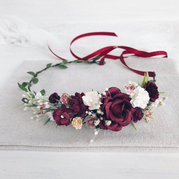 Fall floral crown, burgundy wedding crown, fall burgundy flower crown, bridal hair jewelry, deep red crown, weddings - #flower head #braut #B ...
