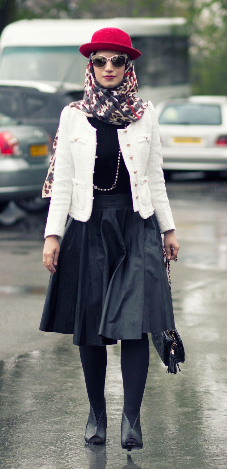 Leather jacket hijab - Leather Skirt And Tweed Jacket For Hijab Fashion Hijabstyle Hijabfashion
