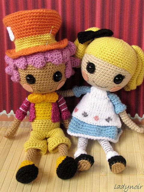 Lalaloopsy Alice and Hatter crocheted by ladynoir63, via Flickr