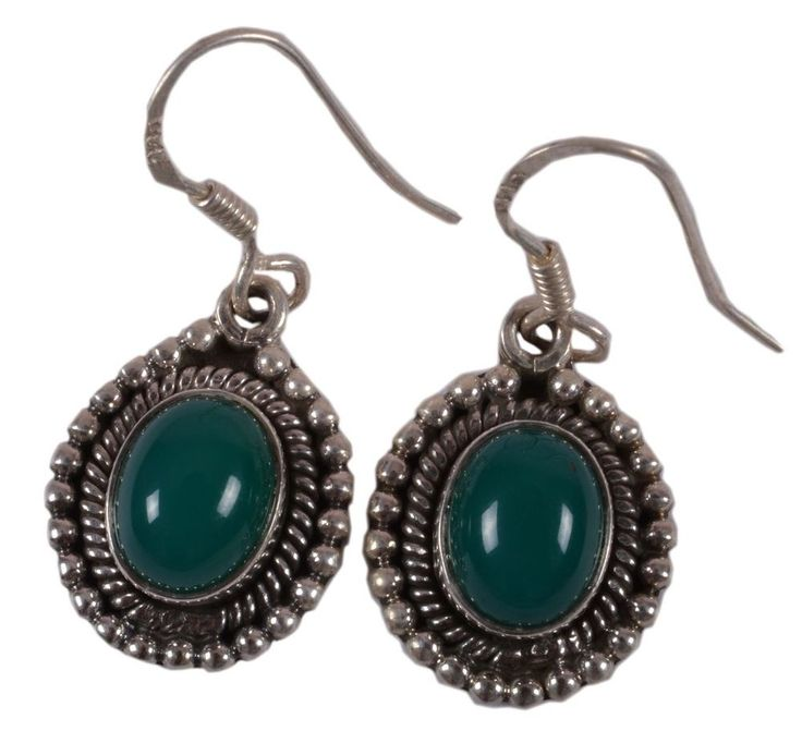 Solid 925 Sterling Silver Earring Natural Green Onyx Gemstone 1.9 Inches JSEA-16 #JaipurSilver