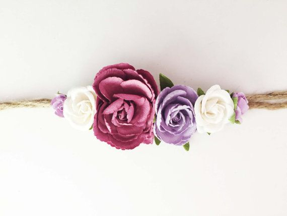 Tieback Flower Crown Headband Newborn Photo Prop by masonandharlow