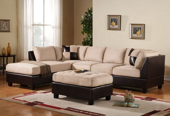 3-Piece Modern Reversible Microfiber / Faux Leather Sectional Sofa Set w/ Ottoman (Beige) -