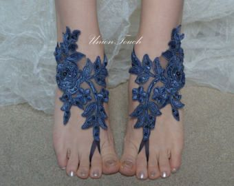 blue barefoot sandals beach wedding barefoot sandals by UnionTouch