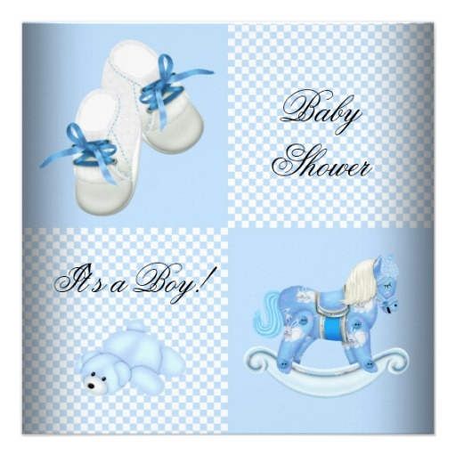 Cute Baby Shower Boy Baby Blue Booties Shoes Invites