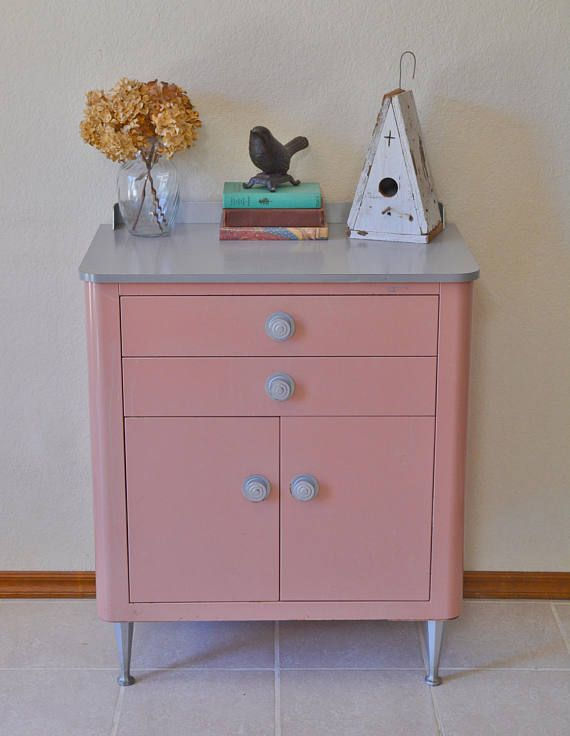 rare vintage metal medical cabinet in pink dresser sewing by igcdesigns
