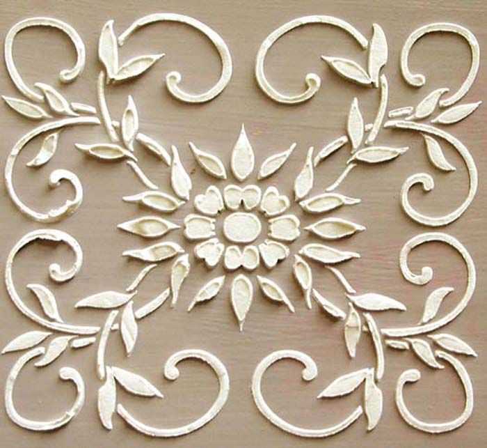 """Our Raised Plaster Barrington Frieze Stencil was featured in the popular DIY decorating book """"Paint Saves The Day"""" by Lucianna Samu. It's a fabulous design for cabinet doors (as depicted in her book), to create a stunning repeated wallpaper over the walls or as a central design anywhere one is called for. http://victorialarsen.com/plaster_stencil_barrington_frieze.html"""