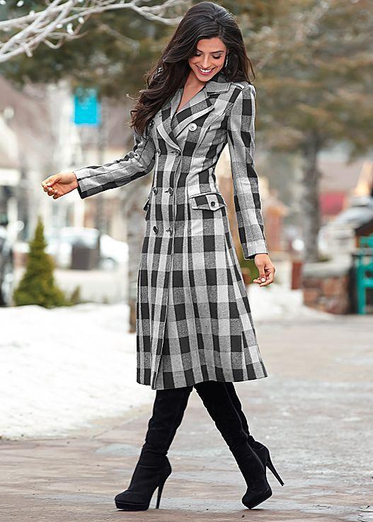 BLACK & WHITE Plaid duster coat, slimming jegging, boot from VENUS