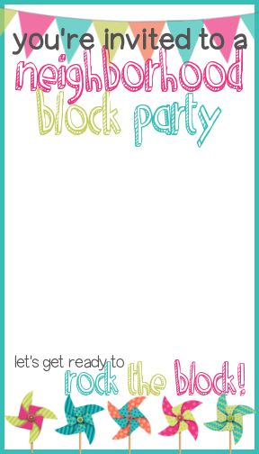 Invitation template.  How to Throw a Block Party + Free Printable Invitation Template