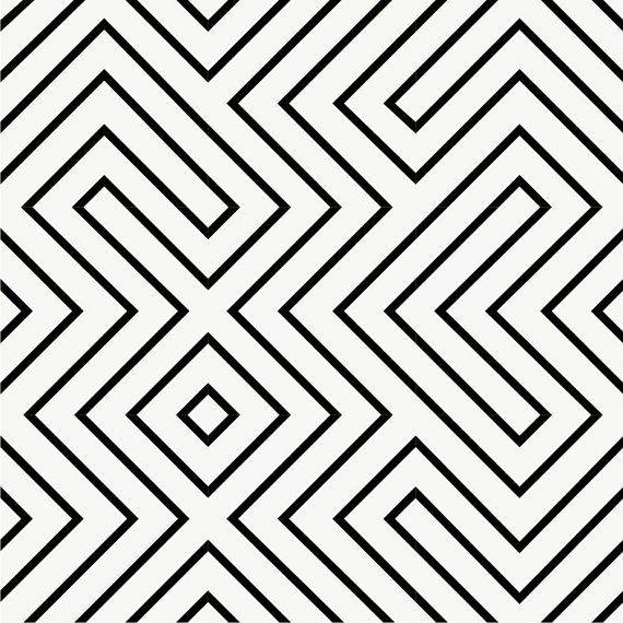 Geometric Maze Wallpaper in Black Removable Vinyl by QUADROSTYLE