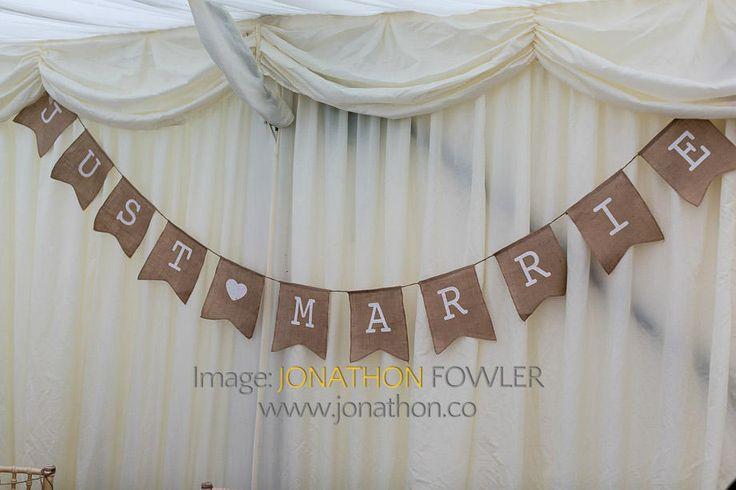 Glencorse House wedding photos - Lauren and Wayne - just married banner