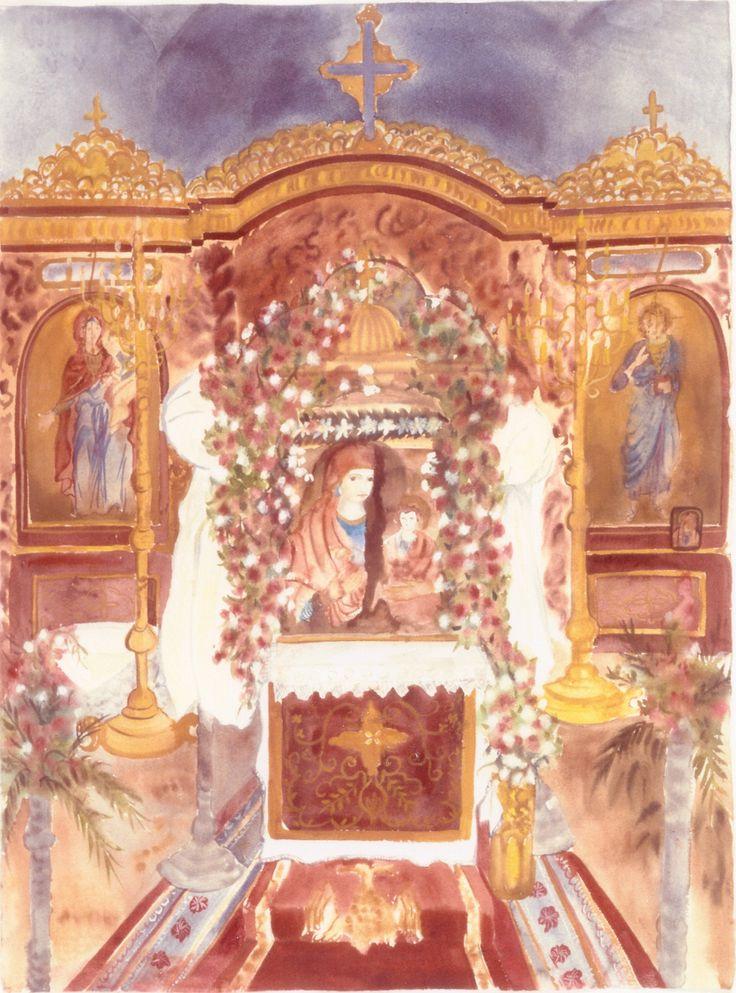 Η Παναγία των Νέων Ρόδων. Chapel at Nea Roda, Halkidiki, Greece. Water color. All rights reserverd.