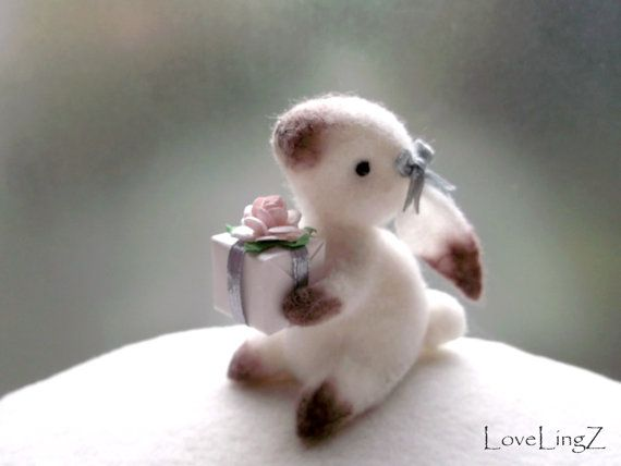 So cute! Felt bunny girl with gift, hand stichted miniature rabbit artist plushie $