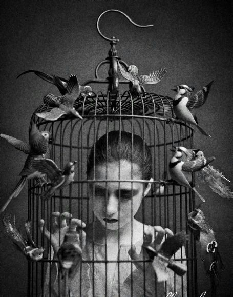 Caged woman free birds