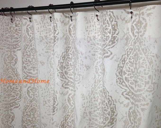 Shower Curtain Fabric Shower Curtain Slub Linen Look Snowy Blue