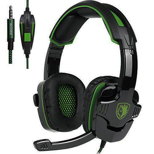 2017 New Updated Gaming Headphones,SADES SA930 3.5mm Stereo Sound Wired Professional Computer Gaming Headset with Microphone,Noise Isolating Volume Control for Pc/Mac/Ps4/Phone/Table(Black Green)