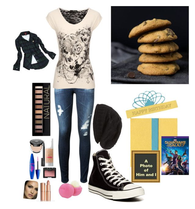"""""""Celebrating my Boyfriend's Birthday Tomorrow"""" by neonpuppy ❤ liked on Polyvore featuring AG Adriano Goldschmied, Converse, Del Toro, David & Young, Forever 21, Benefit, Kat Von D, NARS Cosmetics, Eos and Charlotte Tilbury"""