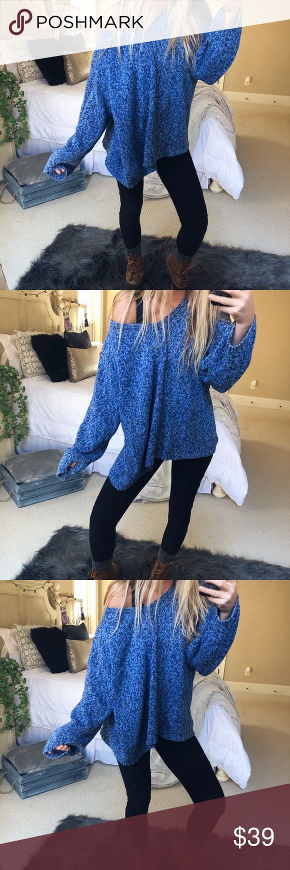 slouchy moselle knit super gorgeous and cozy blue + white blended knit sweater. such a gorgeous slouchy silhouette. fits a medium or large 🌻✨ — * all offers 100% welcomed + encouraged * bundle for a private discount of at least 20% off  * orders guaranteed to ship within 1-2 days unless stated otherwise * ask me any questions if you ever have any! xo Sweaters