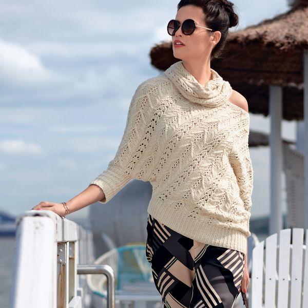 Асимметричный джемпер спицами. Оригинальный микс узоров для пуловера спицами | Я Хозяйка