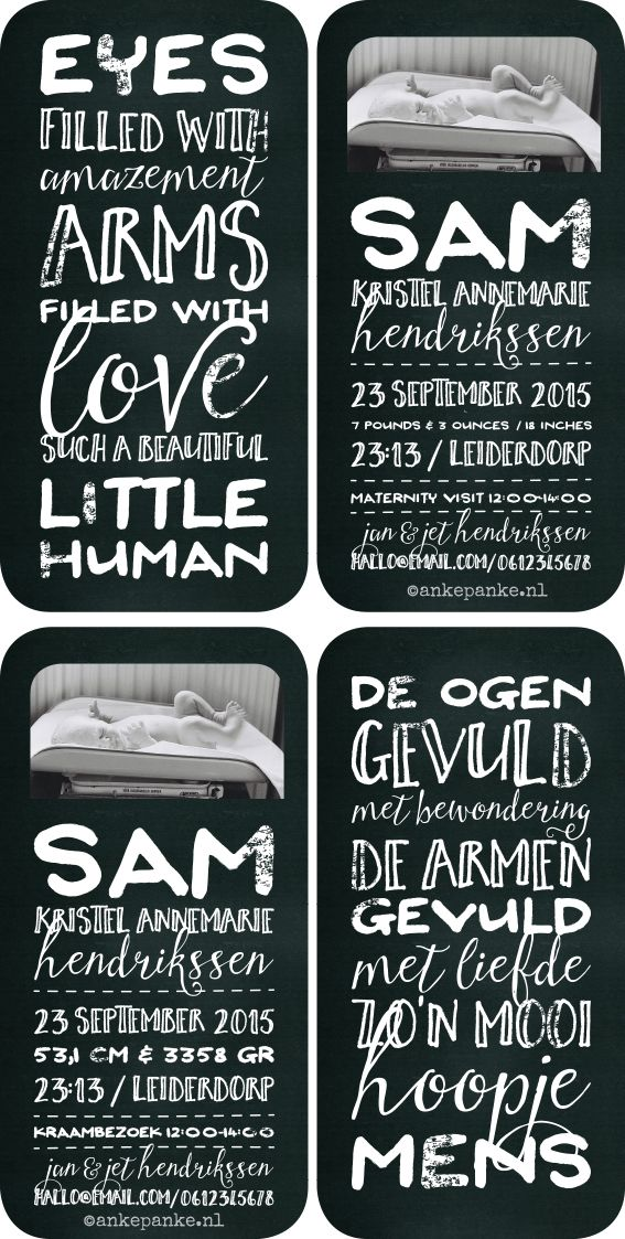 Black & white poem chalkboard birth announcement by http://ankepanke.nl