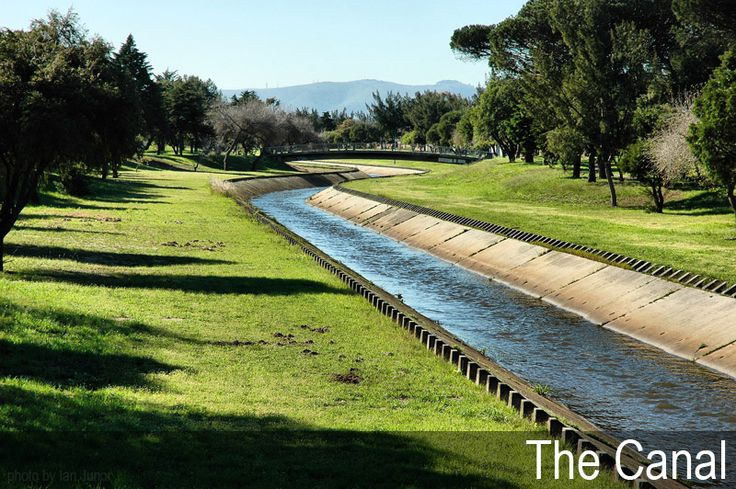 The Elsieskraal River which is canalized as it flows through Pinelands