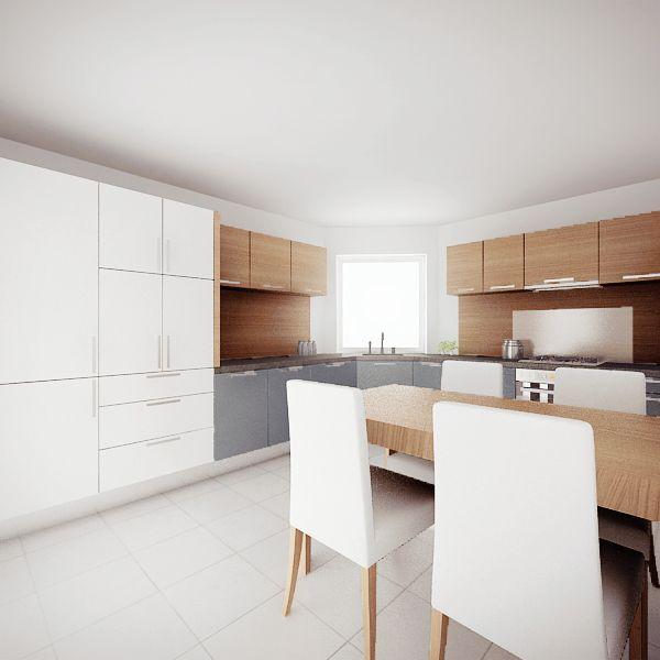 Projekt przestronnej kuchni w ciekawej kolorystyce: bieli, szarości i brązie - meble na zamówienie MBVision