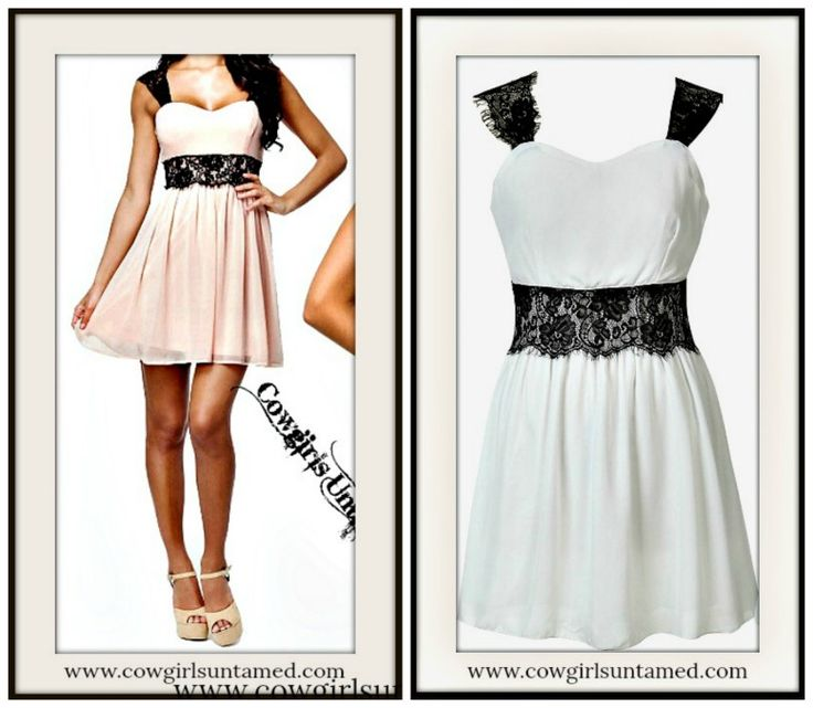 COWGIRL GYPSY DRESS Empire Waist Black Lace & Chiffon Mini Dress - GREAT FOR EVENING OUT, WEDDING or PROM!  #pink #lace #white #minidress #dress #sleeveless #wedding #prom #cocktail #sweetheart #lined #cowgirl #fashionista #western #party #wholesale #onlineshopping #beautiful